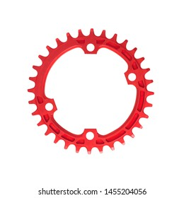 Red assymetric chainring component for bikes isolated on white background