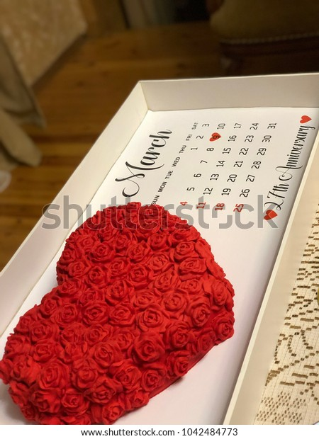 Red attractive heart cake for anniversary