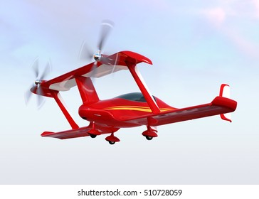 Red autonomous flying drone taxi in the sky. 3D rendering image.