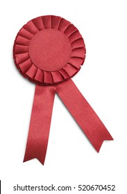 Red Award Ribbon with Copy Space  Isolated on White Background.