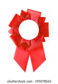 red award rosette on a white background