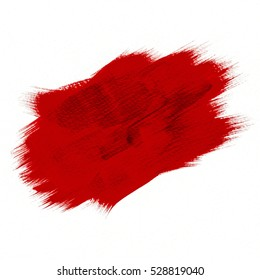 Red background for Christmas. Abstract red color acrylic watercolor hand paint isolated on white background. Detail or closeup brush stroke pattern.