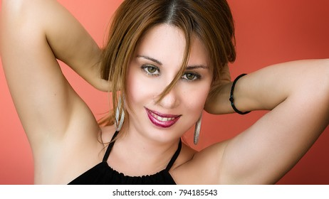red background female portrait