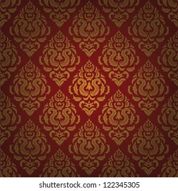 Red background with gold floral pattern. Vintage wallpaper