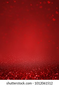 red background love  happy  valentine day concept with sparkling heart is abstract and space for text input. Festive banner and poster.