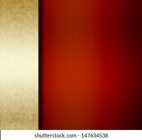 red background with rich gold ribbon