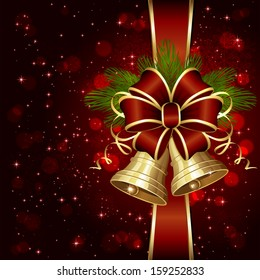 Red background with shiny bells bow and Christmas tree, illustration.