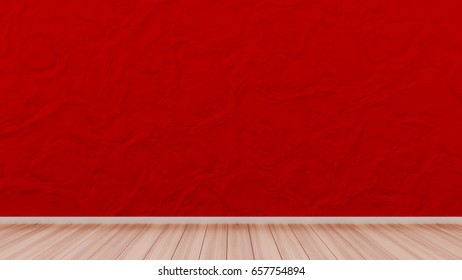 Red background with a wall, grass and wooden floor. 3d illustration, 3d rendering.