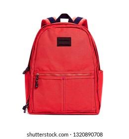 roter Rucksack einzeln auf weißem Hintergrund. Reisen Sie Daypack mit Zipperkompartiment. Satchel Rucksack. Rucksack der Canvas-Schule. Vorderansicht der Beutel mit Schultergurten