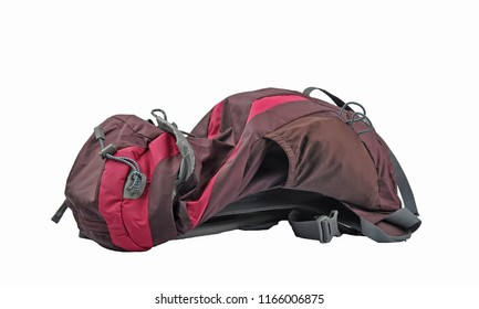 Red backpack on white background