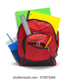 Red Backpack with School Supplies Isolated on White Background.