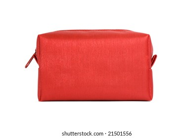 Red bag for cosmetics on a white background