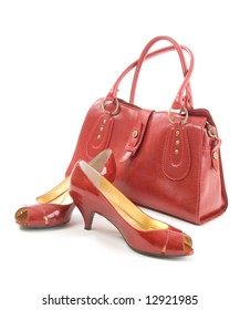 Red bag and shoes on a white background