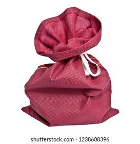 Red bag tied with rope on a white background.