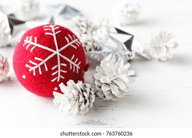 Red ball Christmas celebration accessories prepare for the Christmas and happy New Year festival