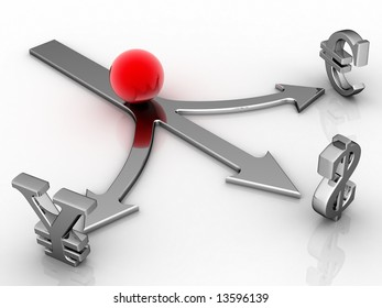Red ball, three directions, symbol of the money on light background