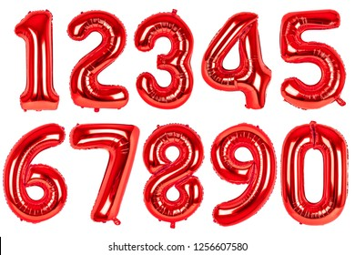 Red ballons with numbers set. Isolated on white background