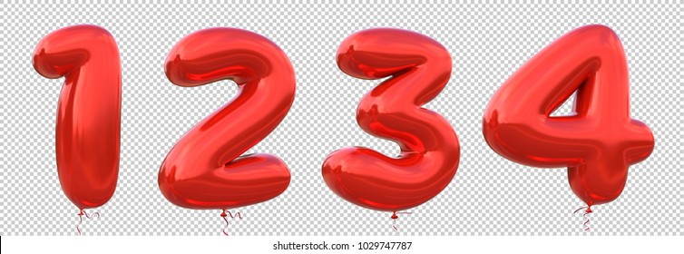 Red balloon 1, 2, 3, 4 made of realistic metallic air balloon 3d rendering. Collection of brilliant balloons number with Clipping path ready to use for your unique decoration in several concept idea.