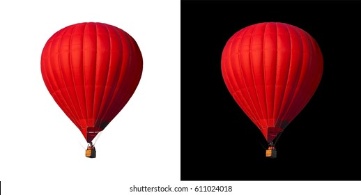 Red balloon isolated on alpha channel with black and white luminance matte, perfect for digital composition