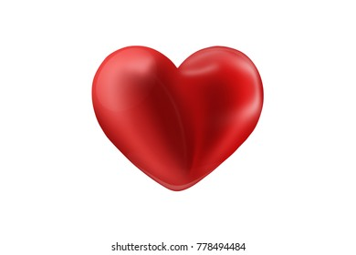red balloon in the shape of heart isolated on white background