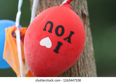 A red balloon tied to a tree with I Love You printed upside down