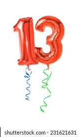 Red balloons with ribbon - Number 13