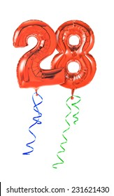 Red balloons with ribbon - Number 28