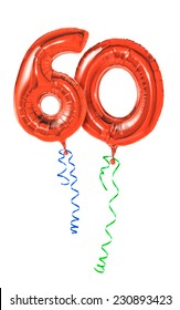 Red balloons with ribbon - Number 60