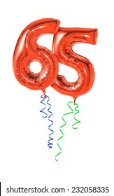 Red balloons with ribbon - Number 65