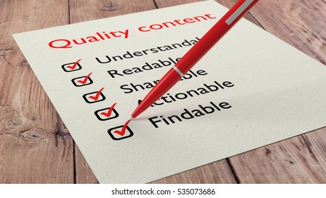 Red ballpen crossing off items from a checklist with quality content characteristics 3D illustration