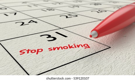 Red ballpen on a paper calendar closeup with the words stop smoking in red 3D illustration