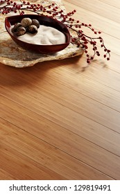 red bamboo parquet floor with zen ornaments