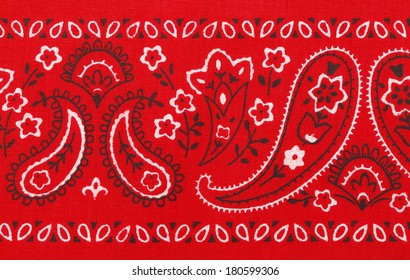 Red Ban dana Close Up with Flower Paisley Design.
