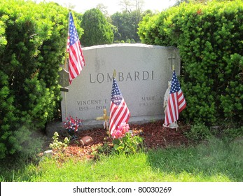 RED BANK, NJ - MAY 20: The grave of Vince Lombardi, shown on May 20, 2011, is located at Mt. Olivet Cemetery in Red Bank, NJ. Lombardi coached the Green Bay Packers from 1959-67 and won 2 Super Bowls.