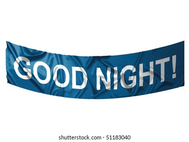 A red banner with white text saying Good night