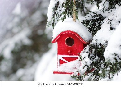 Red barn birdhouse covered in snow with snow covered trees blurred in background; winter background with copy space