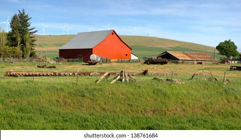 Red barn in a country farm eastern Washington Pacific NW.