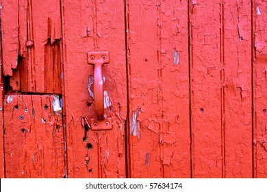 red barn door detail