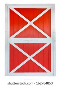 Red barn door isolated on white background