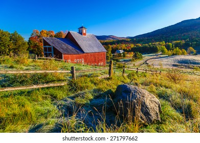 Red barn during a New England fall foliage, Stowe, Vermont, USA