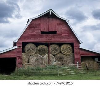 Red Barn Full of Hay