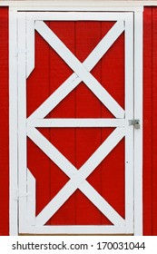 Red barn with large windows