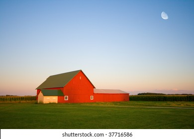 Red barn and the moon