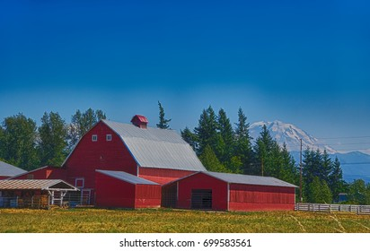 Red barn with Mount Rainier in the background, near Enumclaw, Washington
