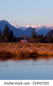 Red Barn near Alouette River in winter, Pitt Meadows, BC, Canada