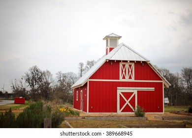 Red Barn on Cloudy Day