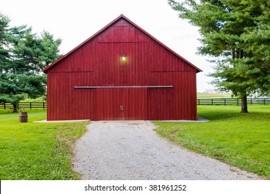 Red barn on countryside.