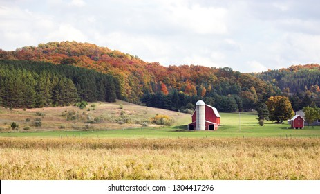 Red barn on farm near Traverse City, Michigan