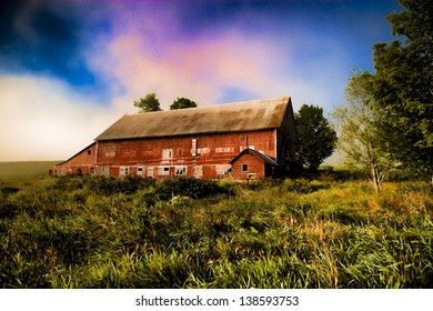 Red barn, Stowe, Vermont, USA