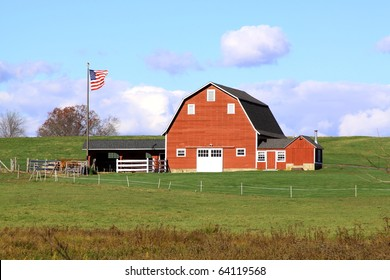 red barn with US flag